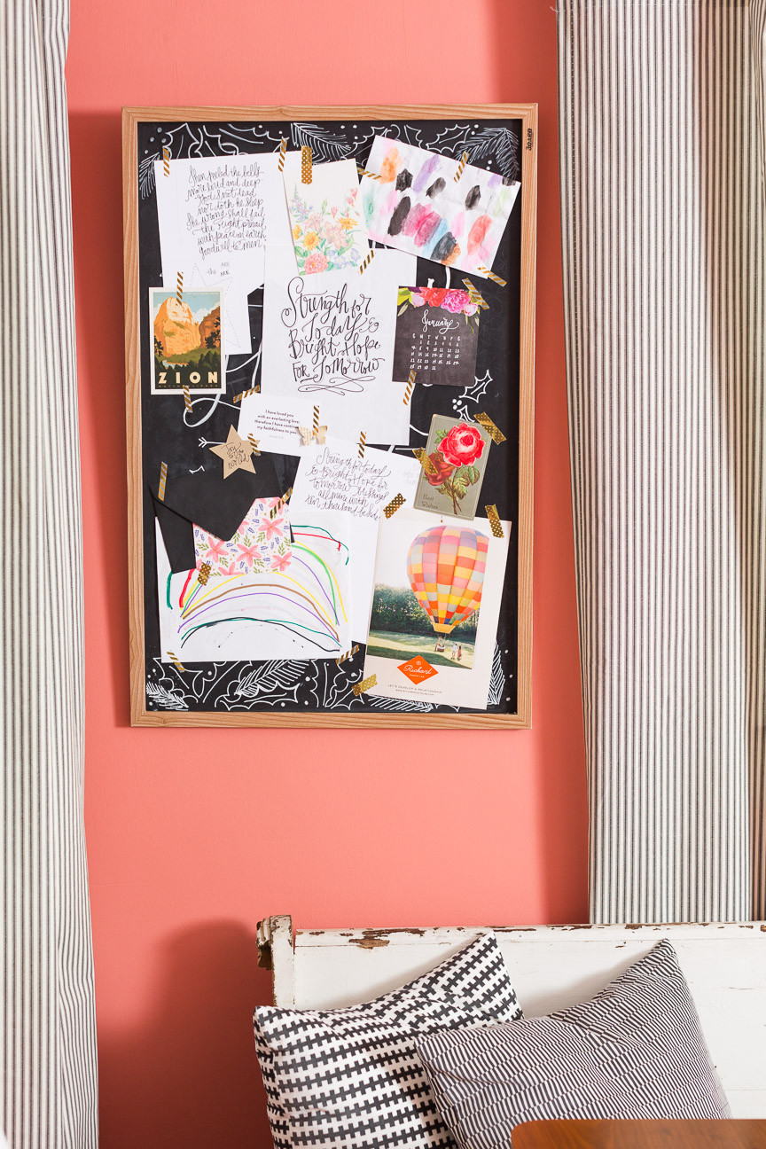 image of an inspiration board on a pink wall