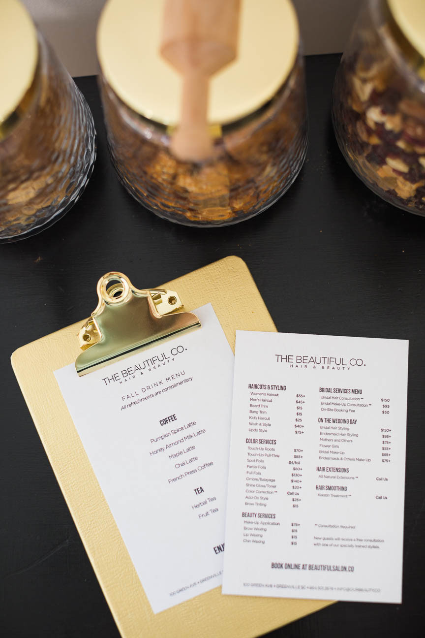 Menu of coffee drinks and salon offerings at local beauty parlor