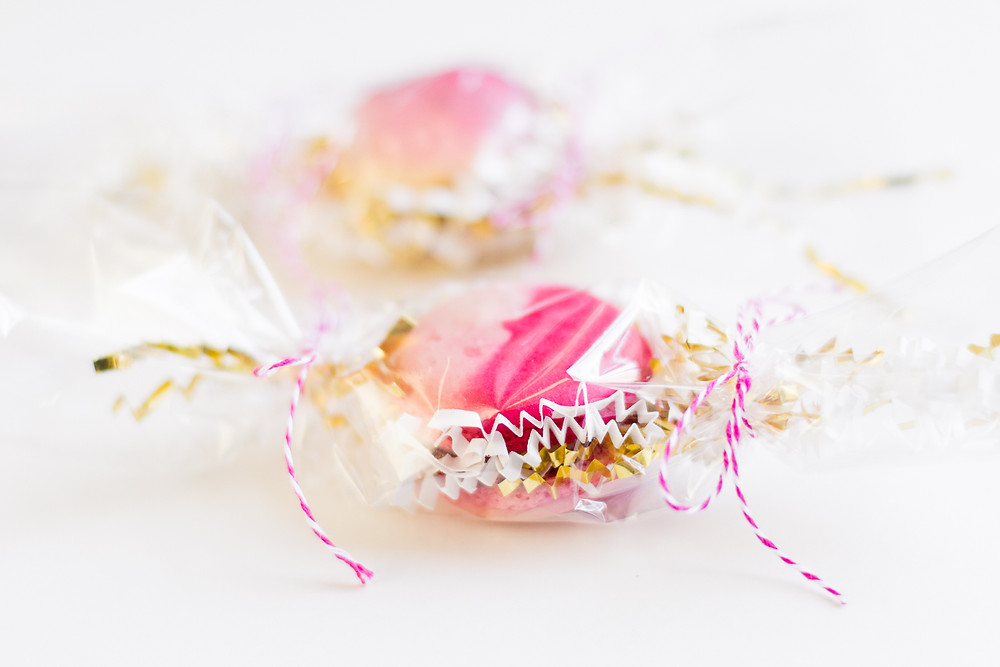 Wrapped macaroons for Valentine's Day gift, food photography, food styling