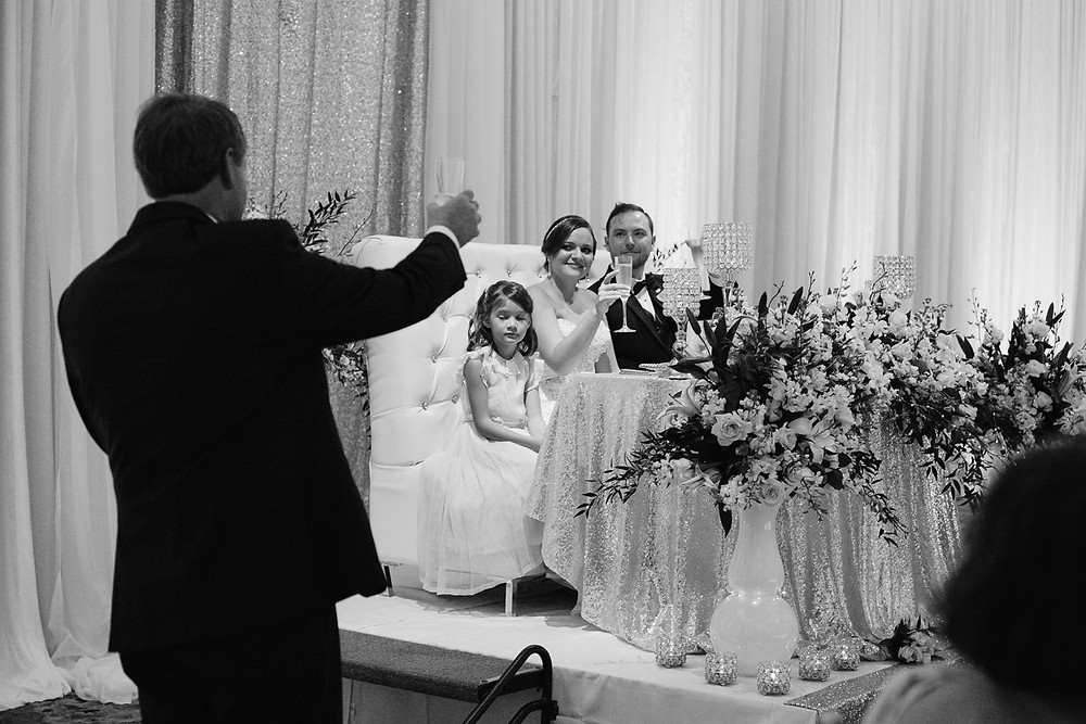 Father of the bride toasts the newlyweds at Hawkes Cay Resort reception, Father daughter dance, Florida Keys Wedding, destination wedding, southern weddings, wedding photography
