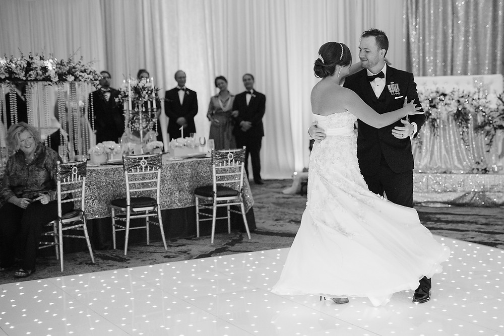 Bride and Groom's first dance, Black and white photography, Florida Keys Wedding, destination wedding, southern weddings, wedding photography