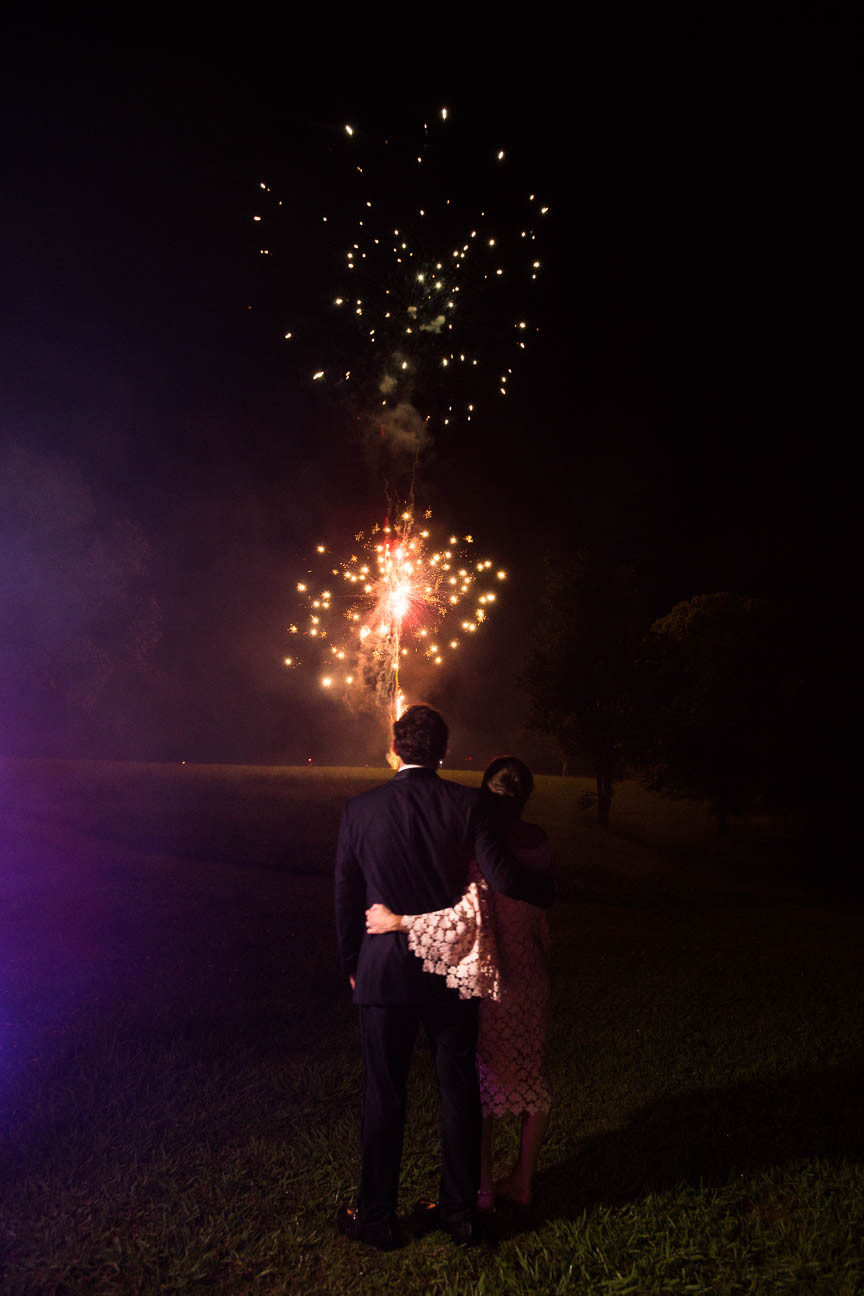 image of couple watching fireworks after their South Carolina wedding