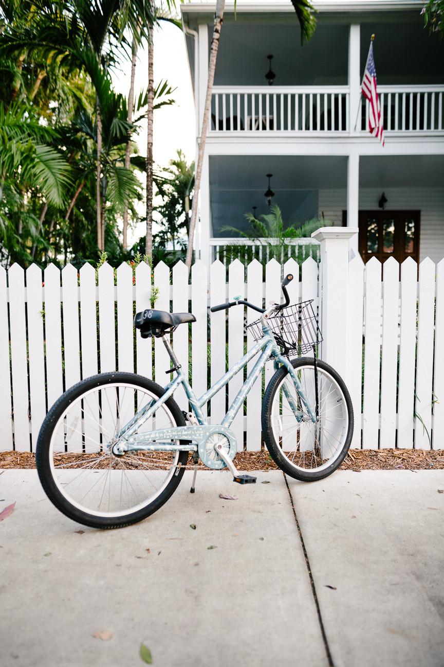 Bike in front of house in Truman Annex, Key West, FL