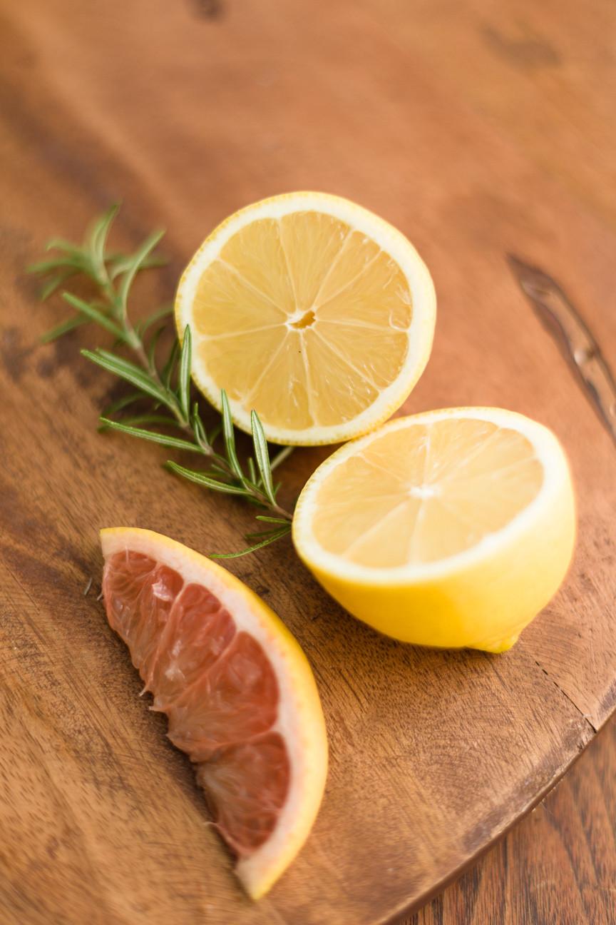 lemon, pink grapefruit, rosemary, food photography, citrus