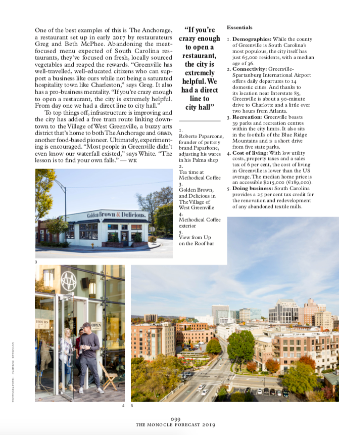image of an editorial Tear sheet from Monocle Article about Greenville SC