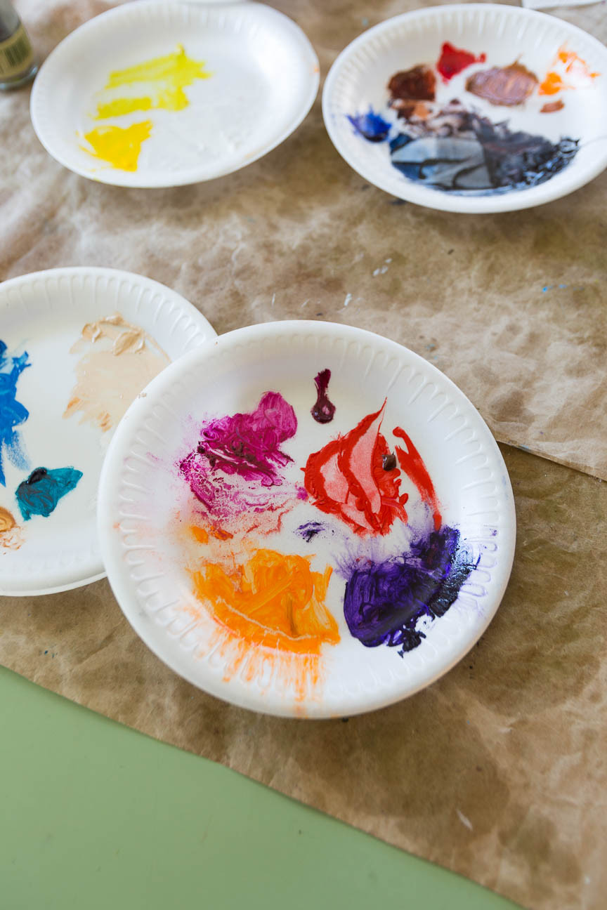 paint palettes in Marie Scott art studio, Greenville SC Artist