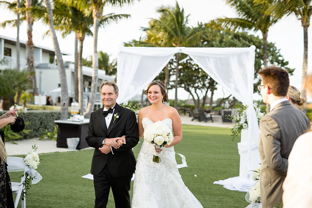 bride and her father walk down the aisle at Hawkes Cay Resort wedding, destination wedding, southern weddings, wedding photography