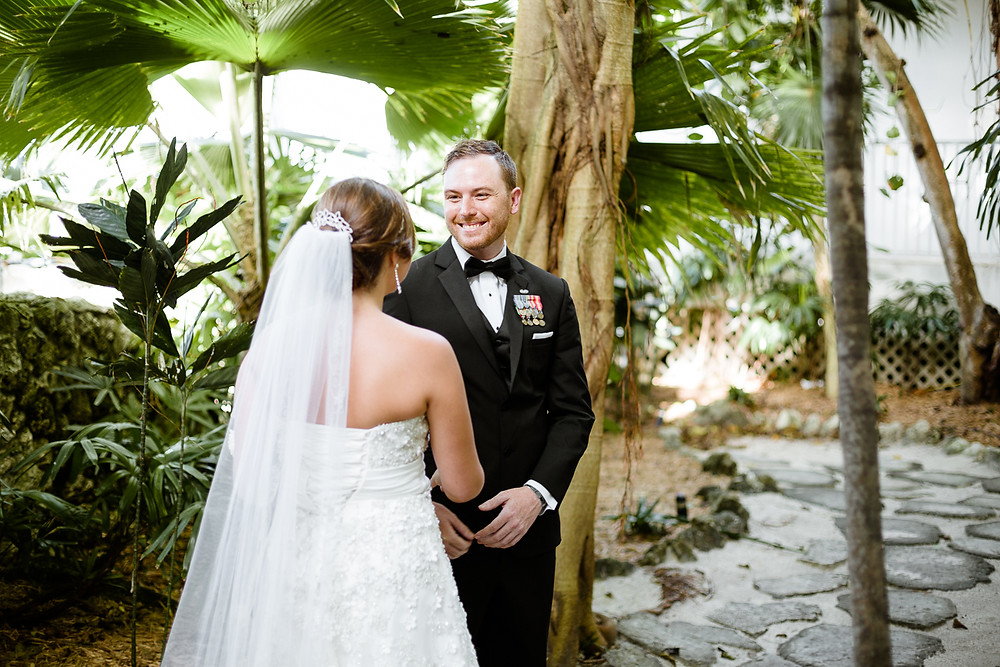 bride and groom's first look before FL wedding ceremony, destination wedding, southern weddings, wedding photography