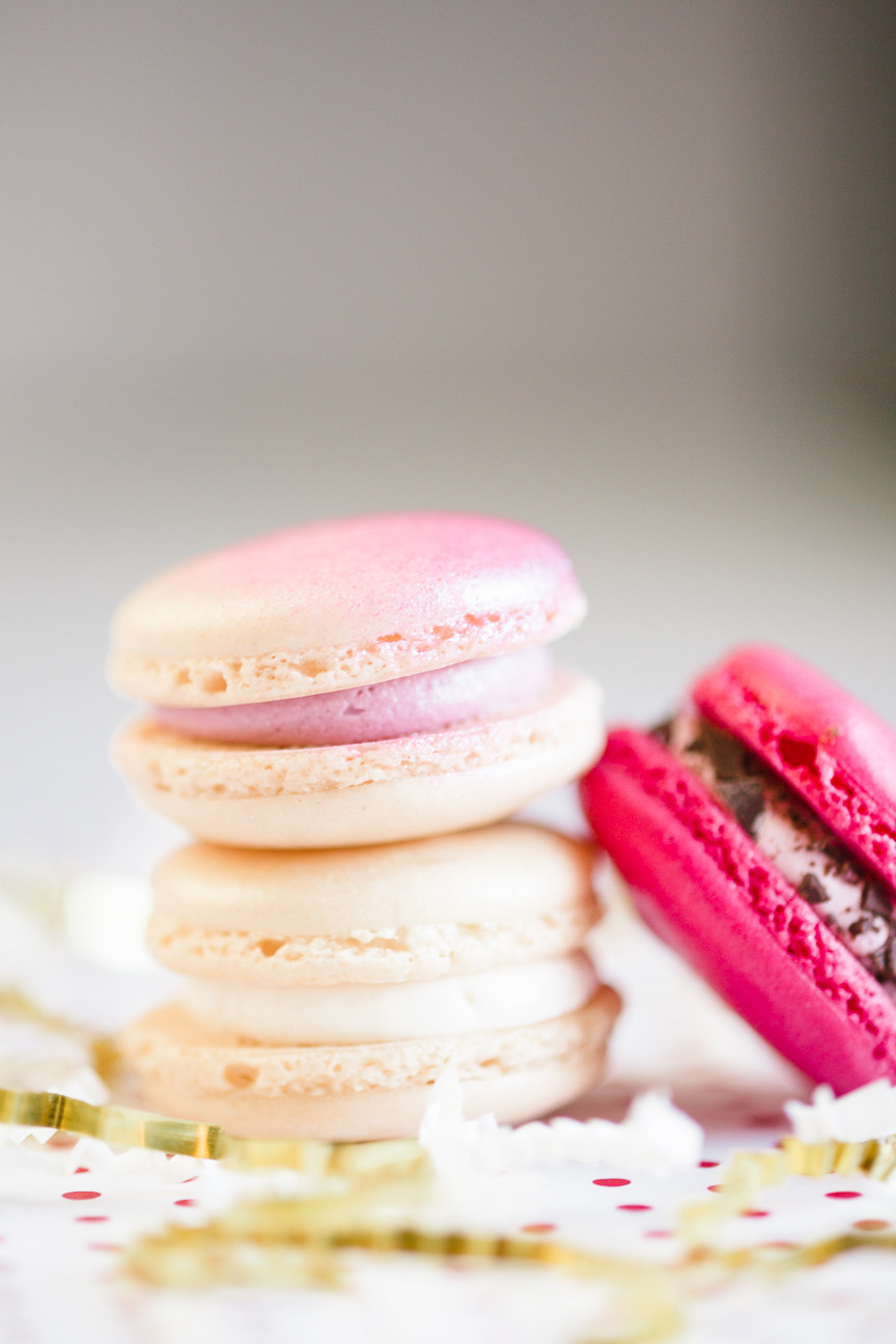 pink and champagne colored Valentine's Day macaroons, food photography, food styling
