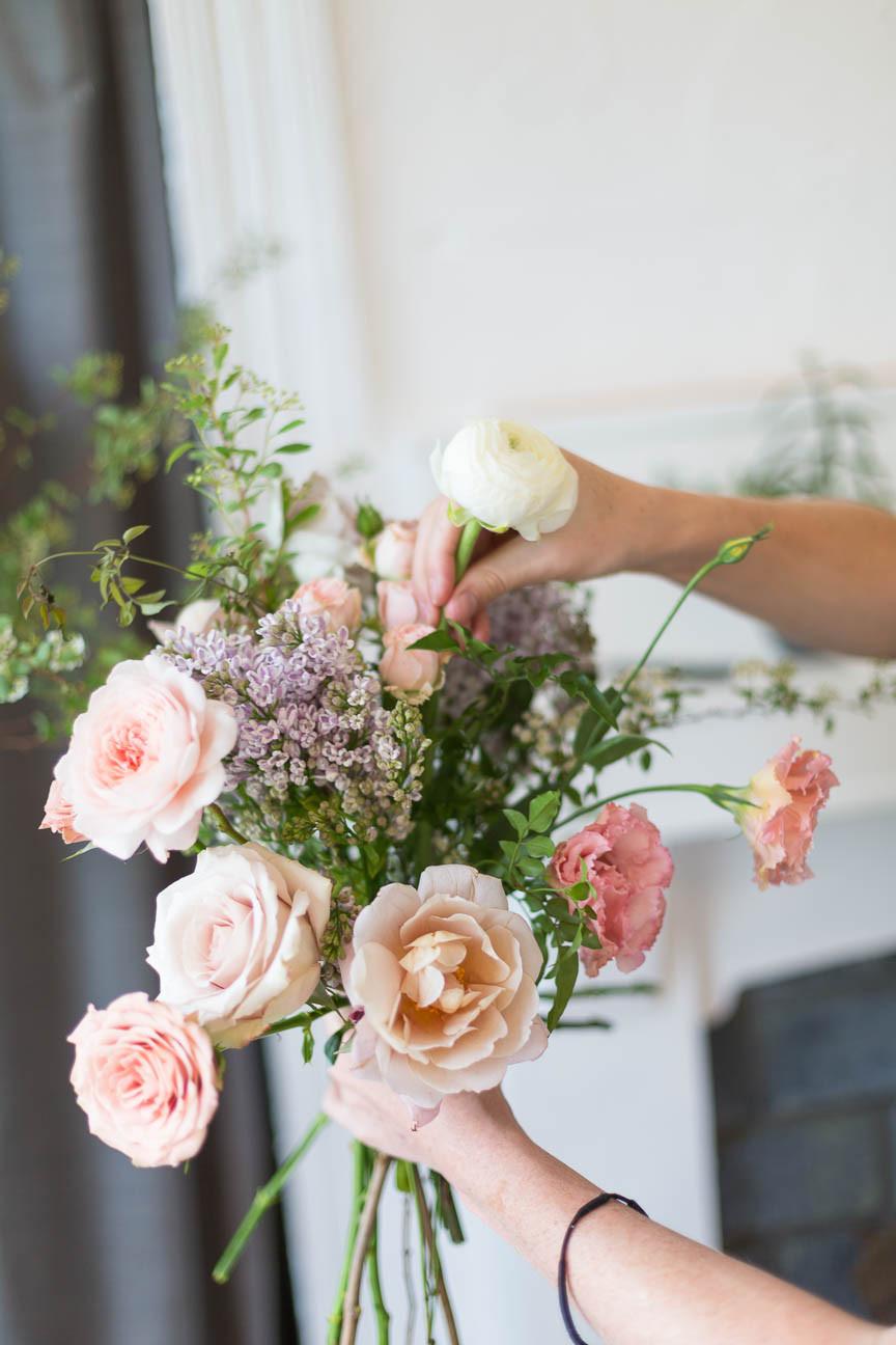 Willow Florals, florist arranges bouquet, Greenville sc florals