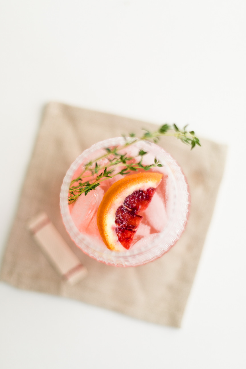 Blood Orange cocktail with thyme, beverage, food photography, food styling, linen napkin