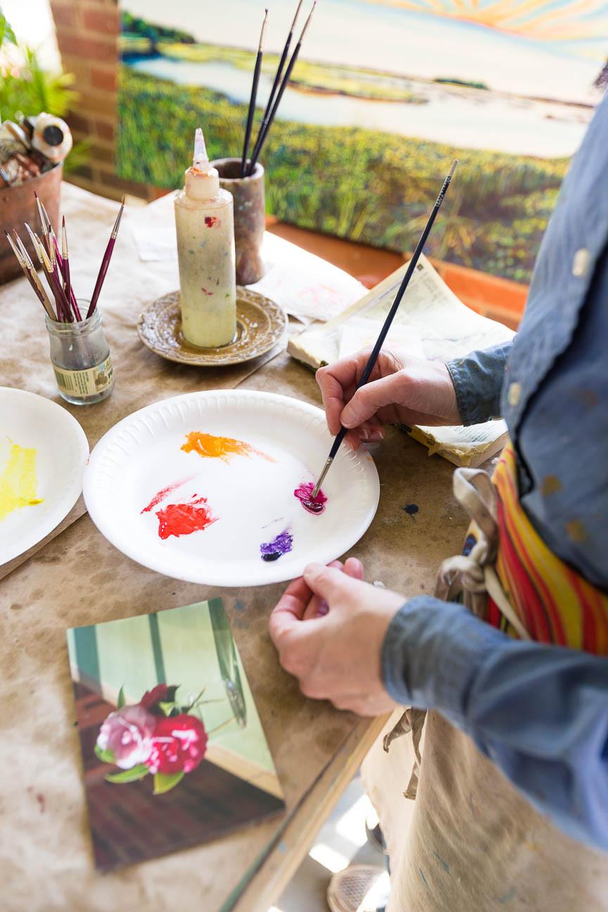 Marie Scott Art mixing paints, painter, Greenville SC Artist