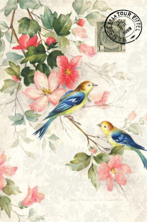 Blue Winged Bird Decoupage