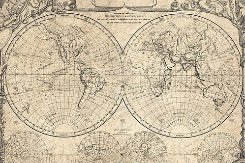 World Map Decoupage