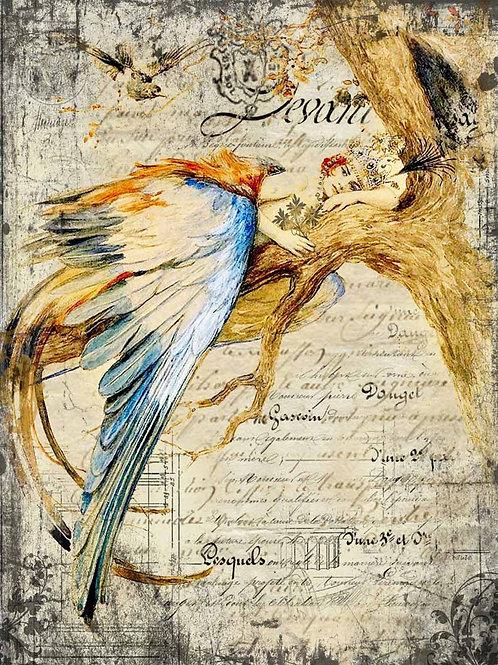 Bluebird Queen Decoupage