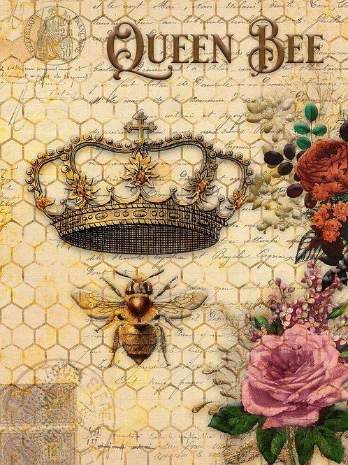 Queen Bee & Roses Decoupage