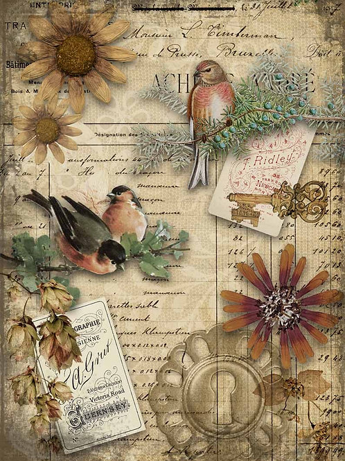 Autumn Birds Decoupage