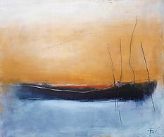 Oil painting, abstract painting, Jenny Fox, abstract seascape, abstract landscape, abstract expressionism, yellow and black and white painting. All forgotten in this strange tranquility