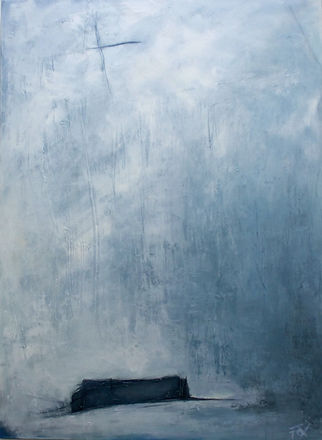 Abstract art, abstract expressionism, oil painting, mixed media painting, abstract oil painting, blue painting, abstract landscape. Jenny Fox. All the noise has died away.