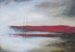 Oil painting, abstract painting, abstract landscape, abstract seascape, abstract expressionism, Jenny Fox, pink and white painting,Everything was quiet.