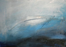 abstract painting, oil painting, abstract art, abstract landscape, abstract expressionism. blue and white painting,Jenny Fox. As I stand alone with memories of home.
