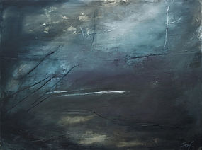 Jenny Fox, abstract art, abstract painting, abstract expressionism, abstract landscape. dark green painting. When I am laid in earth.