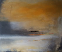 Jenny Fox,Abstract art, abstract painting, abstract expressionism, abstract landscape, yellow and white painting,Stillness breathes