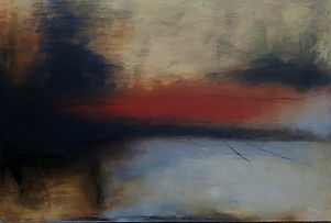 Jenny Fox, abstract oil painting, oil painting, abstract art, abstract painting, orange painting, From which solitude awakens.
