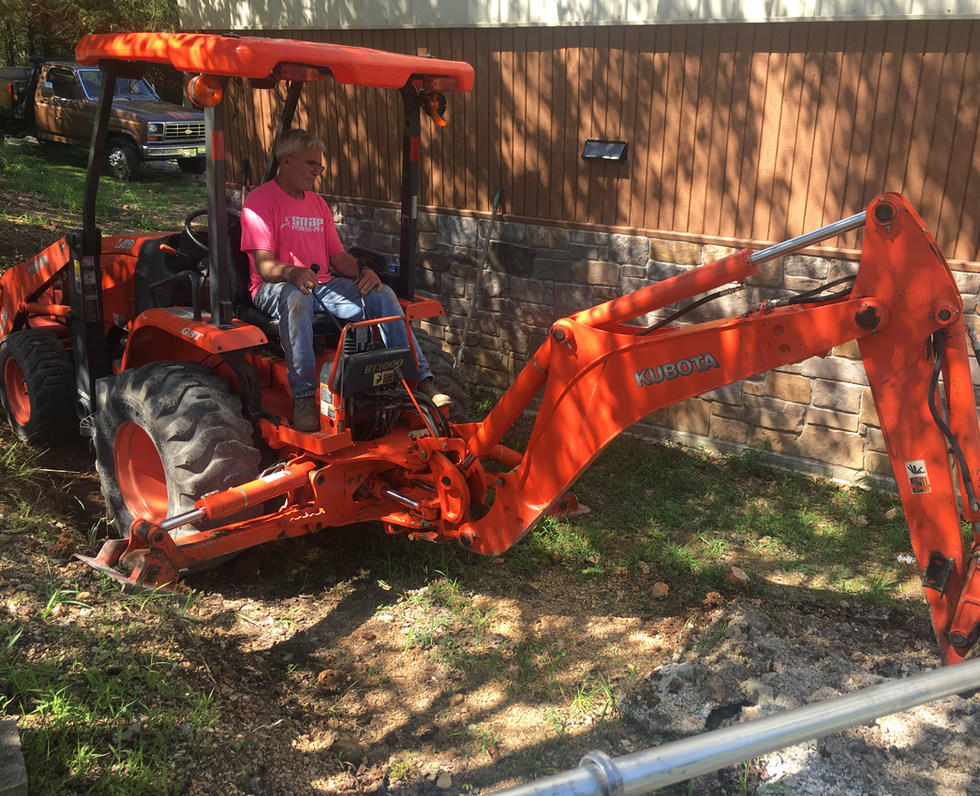 Utility Line Trenching with Backhoe