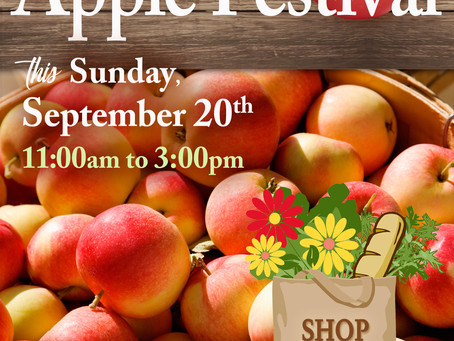 Help us celebrate our 4th annual Apple Festival this Sunday, September 20th
