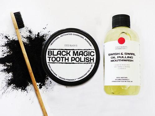 BLACK MAGIC TOOTH POLISH & ORANGE ANISE COCONUT OIL PULLING MOUTHWASH