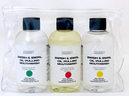 3 x 100ml VARIETY SWISH & SWIRL COCONUT OIL PULLING MOUTHWASH (250ml)