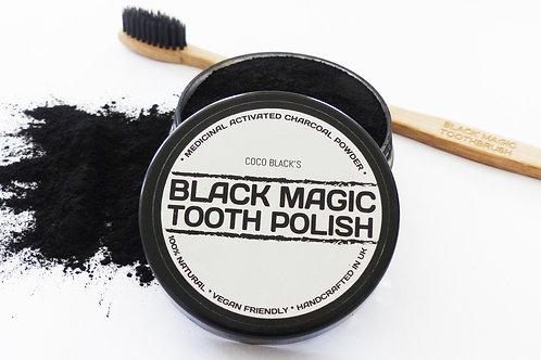 BLACK MAGIC TOOTH POLISH (50ml)  & CHARCOAL BRISTLE TOOTHBRUSH