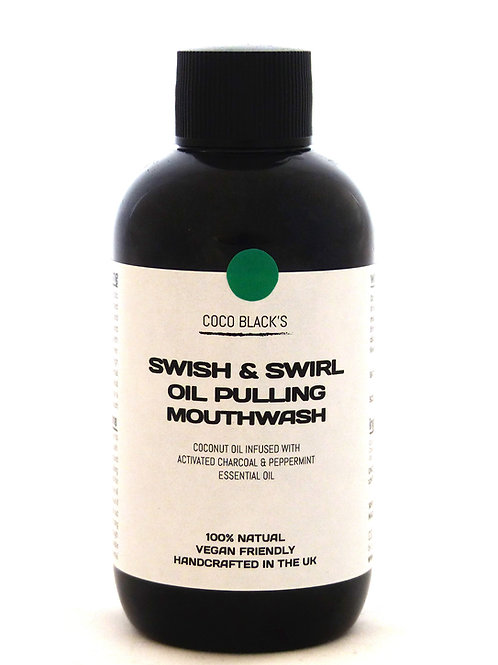 BLACK MINT SWISH & SWIRL COCONUT OIL PULLING MOUTHWASH (100ml)