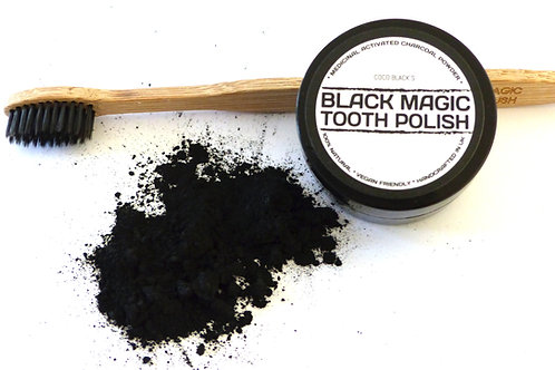BLACK MAGIC TOOTH POLISH (25ml)  & CHARCOAL BRISTLE TOOTHBRUSH