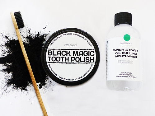 BLACK MAGIC TOOTH POLISH & MINT COCONUT OIL PULLING MOUTHWASH & TOOTHBRUSH