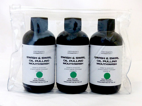 3 x 100ml BLACK MINT SWISH & SWIRL COCONUT OIL PULLING MOUTHWASH (250ml)