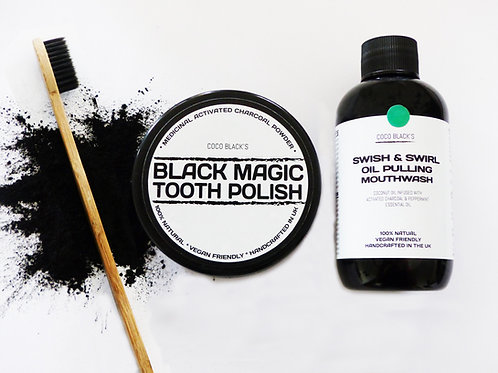 BLACK MAGIC TOOTH POLISH & BLACK MINT OIL PULLING MOUTHWASH & TOOTHBRUSH