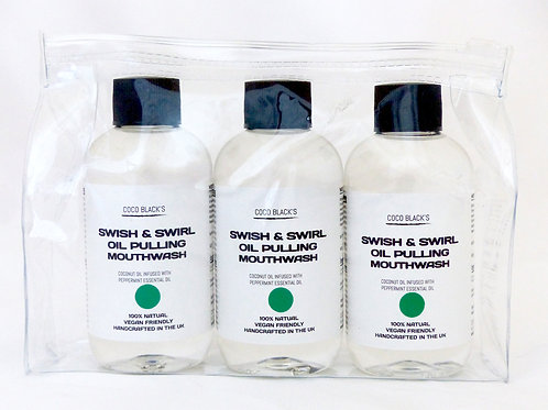 3 X 100ml MINT SWISH & SWIRL COCONUT OIL PULLING MOUTHWASH