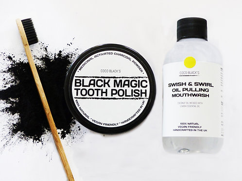 BLACK MAGIC TOOTH POLISH & LEMON COCONUT OIL PULLING MOUTHWASH & TOOTHBRUSH