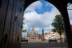 Delft View market square from New Church