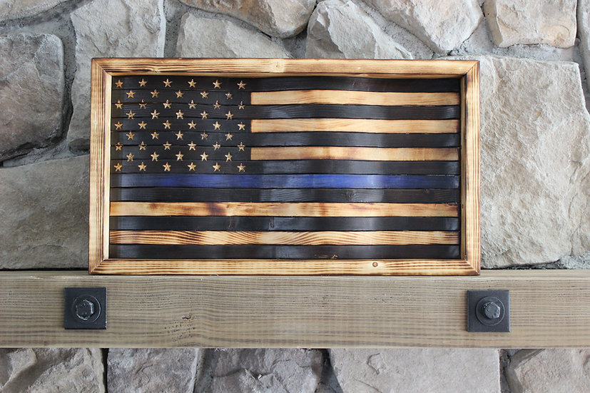 THIN BLUE LINE NATURAL BURN WAVY FLAG