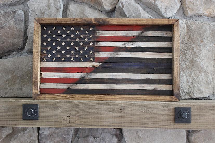 HALF AMERICAN/HALF THIN BLUE LINE BLACK & WHITE FLAT FLAG