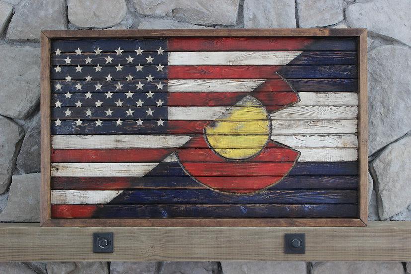 HALF AMERICAN/HALF COLORADO STATE FLAT FLAG
