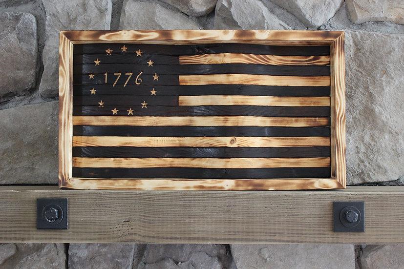 1776 BETSY ROSS NATURAL BURN WAVY FLAG