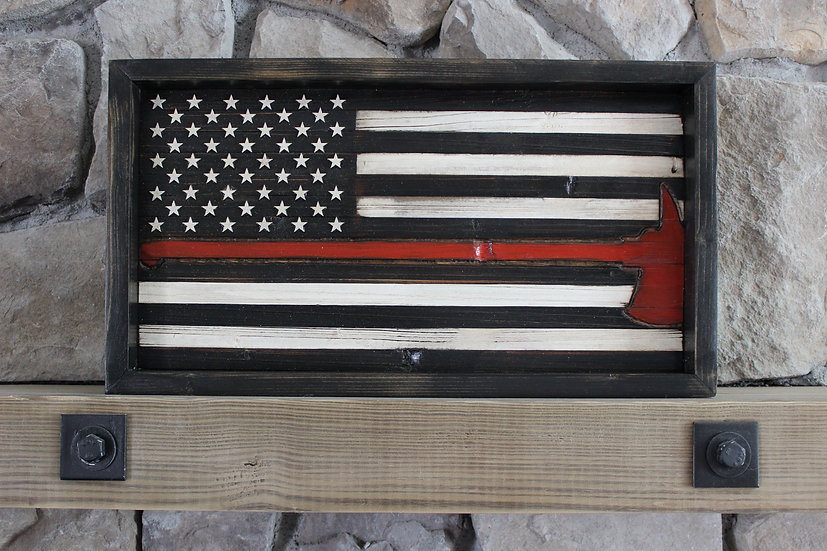 THIN RED LINE AXE BLACK & WHITE FLAT FLAG