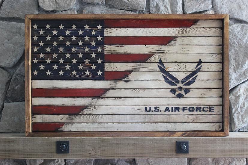 HALF AMERICAN/HALF AIR FORCE WHITE FLAT FLAG