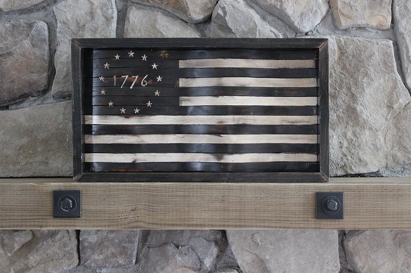 1776 BETSY ROSS BLACK & WHITE WAVY FLAG