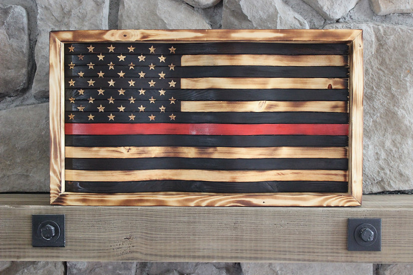 THIN RED LINE NATURAL BURN WAVY FLAG