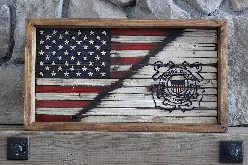 HALF AMERICAN/HALF COAST GUARD FLAT FLAG